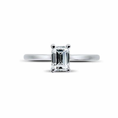 Emerald Cut Claw Set Solitaire 0.51ct DVVS2 BGI